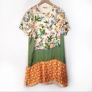 Zara Mixed Print Patchwork T Shirt Dress